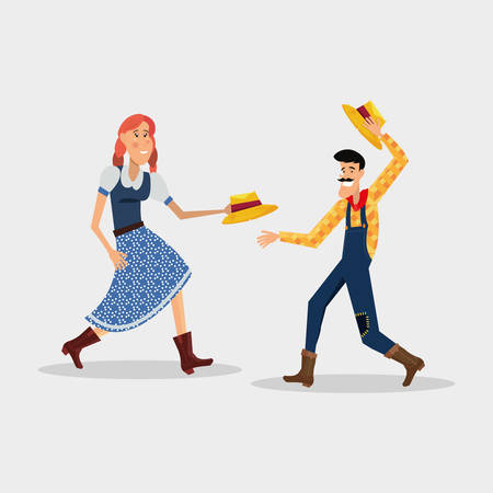 Festa junina design with cartoon couple dancing traditional dance over white background vector illustration
