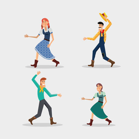 cartoon people with festa junina costumes over white background, colorful design vector illustration