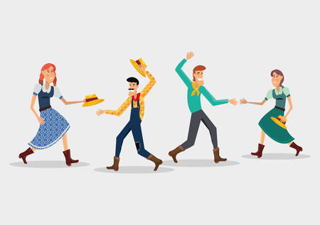 Festa junina design with cartoon couples dancing a traditional dance over white background vector illustration Illustration