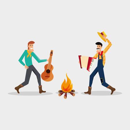 Festa junina design with cartoon men dancing traditional dance around a bonfire over white background vector illustration