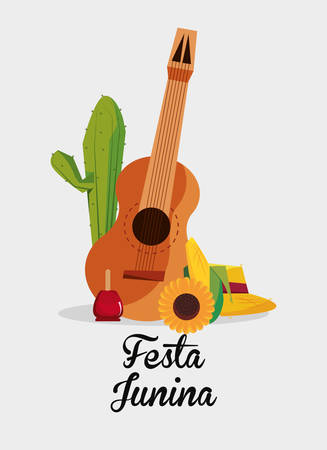 Festa junina design with guitar and related icons over white background, colorful design vector illustration Çizim