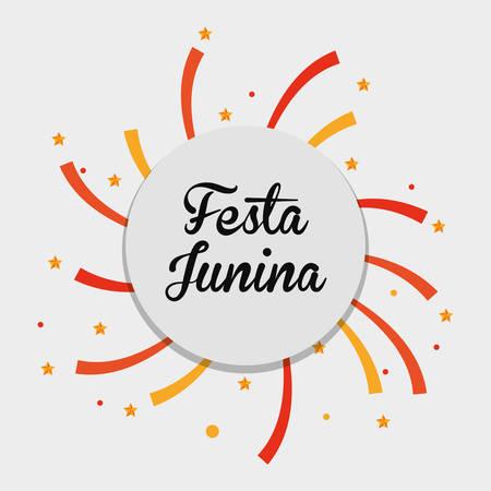 colorful design of Festa junina over white background, vector illustration