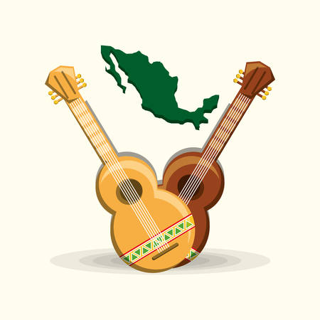 Mexican country map and guitars over white background, colorful design vector illustration. Illustration