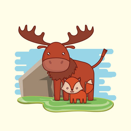 Cute moose and fox over landscape and white background, vector illustration.