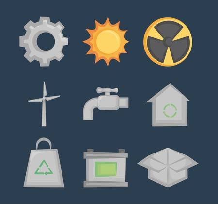 green ecology clean renewable energy icons vector illustration graphic design