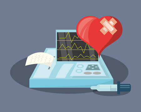 Hurt heart with cardio monitor over blue background, colorful design vector illustration