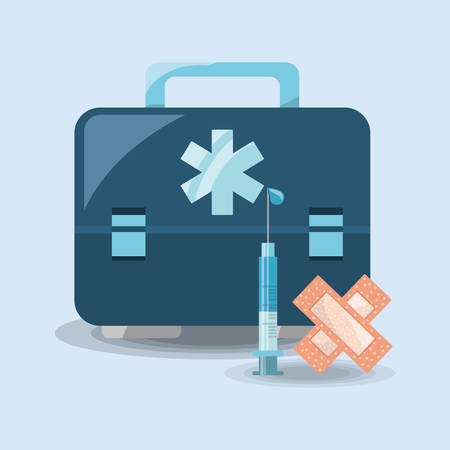 First aid kit and adhesive bandage and injection over blue background, colorful design vector illustration