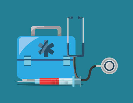 First aid kit and sthetoscope with injection with blood over background, colorful design vector illustration