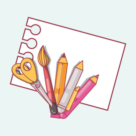 Back to school design with scissors, paper and pencil Illustration