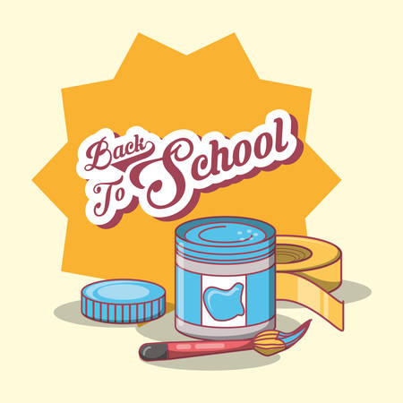 Back to school design with paint pot and brush over yellow star and background, colorful design vector illustration. 版權商用圖片 - 96100686