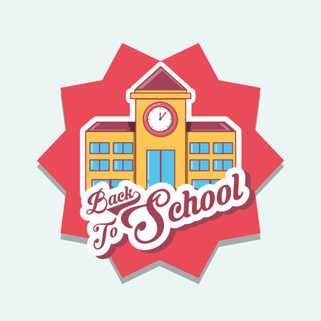 Back to school design with school building over red star and white background, colorful design vector illustration.