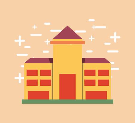 Icône de bâtiment scolaire sur fond orange, illustration vectorielle design coloré.