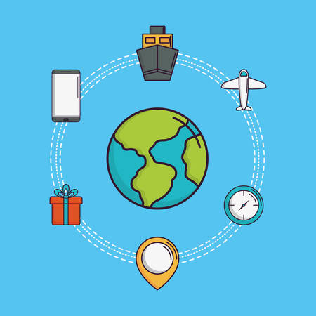 Earth planet and delivery logistics related icons around over blue background, colorful design vector illustration Illustration
