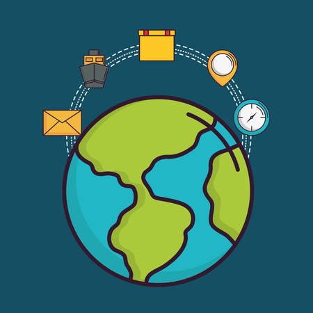 Delivery logistics design with earth, envelope and clock Illustration
