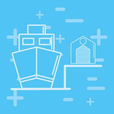 Cargo ship and warehouse icon