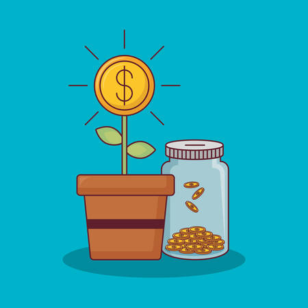 money plant and bottle with coins over blue background, colorful design vector illustration