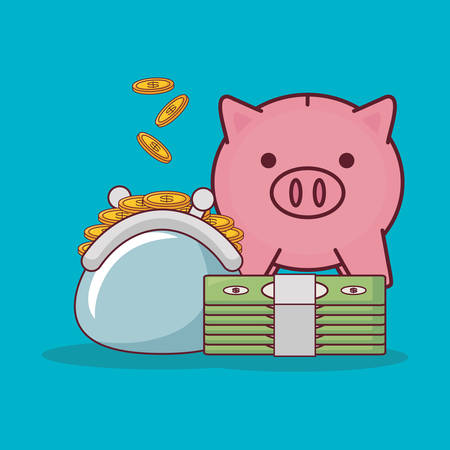 piggy bank and wad of bills with purse with coins over blue background, colorful design vector illsutration
