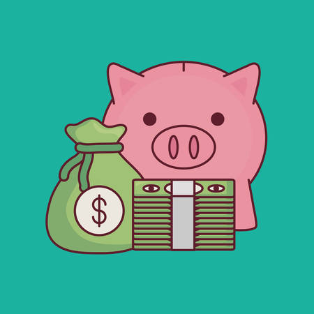 piggy bank and money sack with wad of bills over turquoise background, colorful design vector illustration