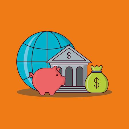 global sphere and bank building with piggy bank over orange background, colorful design vector illustration