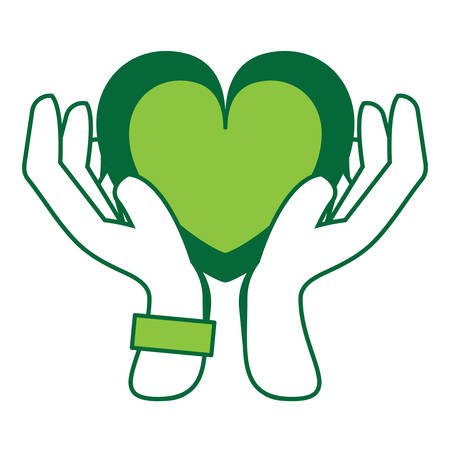 Hands with heart icon.