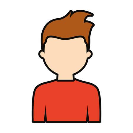 Avatar man icon over white background, colorful design. vector illustration