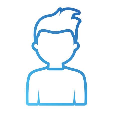 Flat line blue man avatar over white background vector illustration