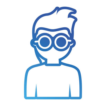 Flat line blue man with sunglasses avatar over white background vector illustration  イラスト・ベクター素材