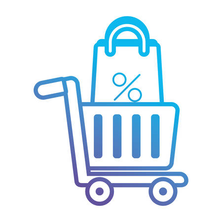 Shopping cart with shopping bag icon illustration on white background.