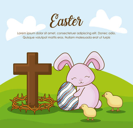 Happy easter design with bunny, egg and cross