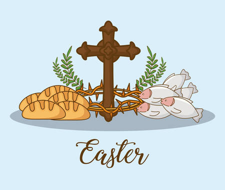Happy easter design with bread, fish and cross