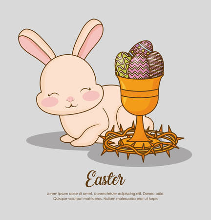 Happy easter design with bunny , egg and cup