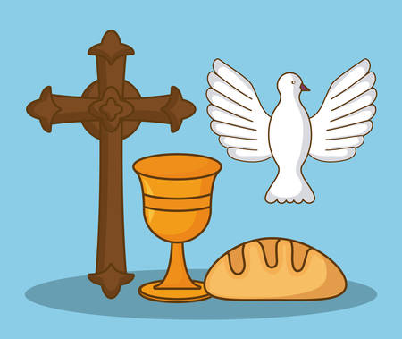 Happy easter design with dove, bread and cross
