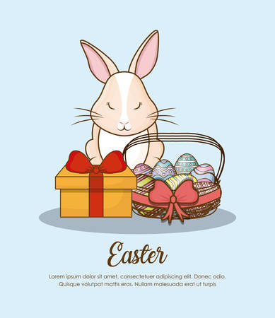Happy easter design with bunny , egg and gift