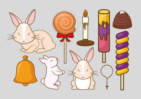 Cute rabbits and candies over gray background, colorful design vector illustration