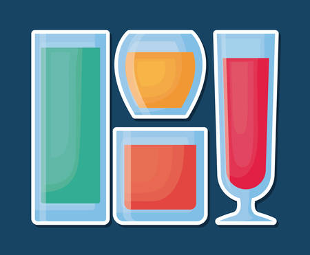 icon set of different types of cocktails drinks over blue background, colorful design vector illustration