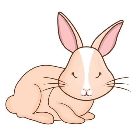 Cute rabbit icon isolated on plain background. Illustration
