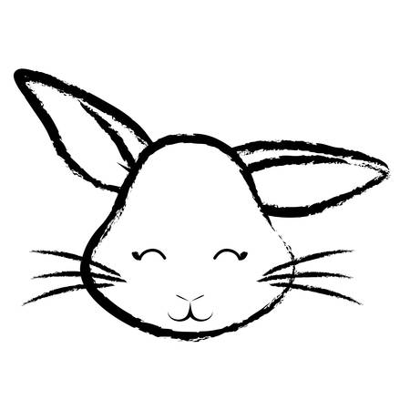 Sketch of cute rabbit face icon over white background, vector illustration.