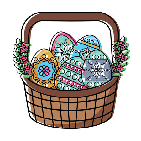Basket with easter eggs and beautiful flowers over white background, colorful design. vector illustration