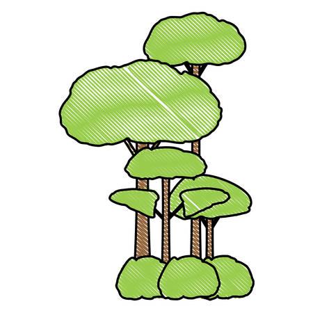 trees icon over white background, colorful design. vector illustration Illustration