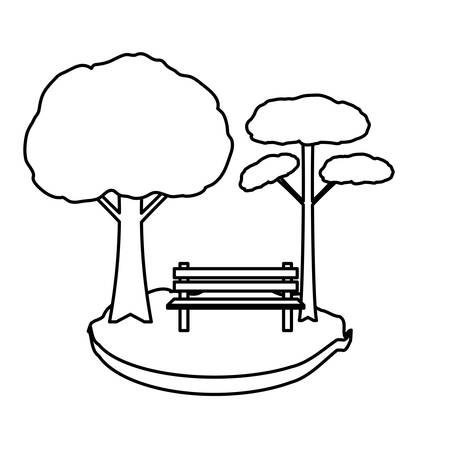 Park with trees and bench icon over white background, vector illustration