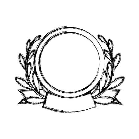 Wreath leaves emblem icon vector illustration graphic design