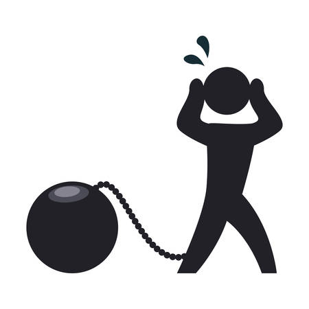 Prisoner with chain and ball illustration.
