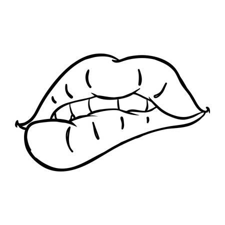 Sexy woman lips cartoon icon vector illustration graphic design