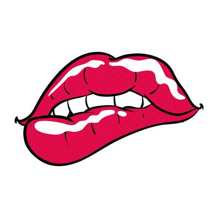 Diseño gráfico del ejemplo atractivo del vector del icono de la historieta de los labios de las mujeres