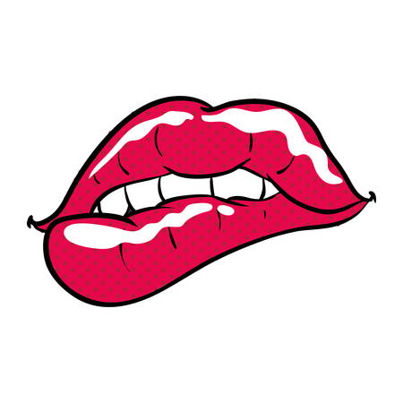 Sexy women lips cartoon icon vector illustration graphic design