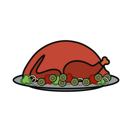 Colorful roast turkey over white background vector illustration. Illustration