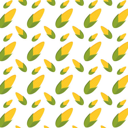 Colorful corn pattern over white background vector illustration.