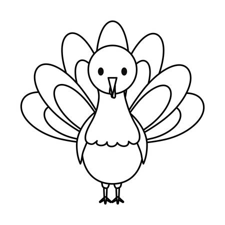 Flat line uncolored turkey thanksgiving over white background vector illustration. Illustration