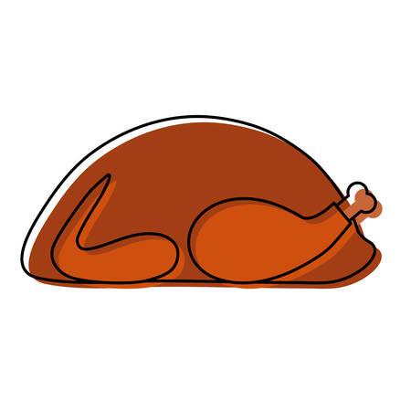 Roasted turkey icon over white background colorful design vector illustration. Illustration