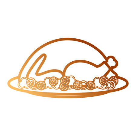 Roasted turkey icon over white background colorful design vector illustration